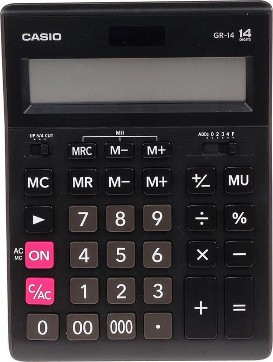 Калькулятор настольный Casio, черный, GR-14-W-EH калькулятор настольный casio gr 12c lb голубой 12 разр