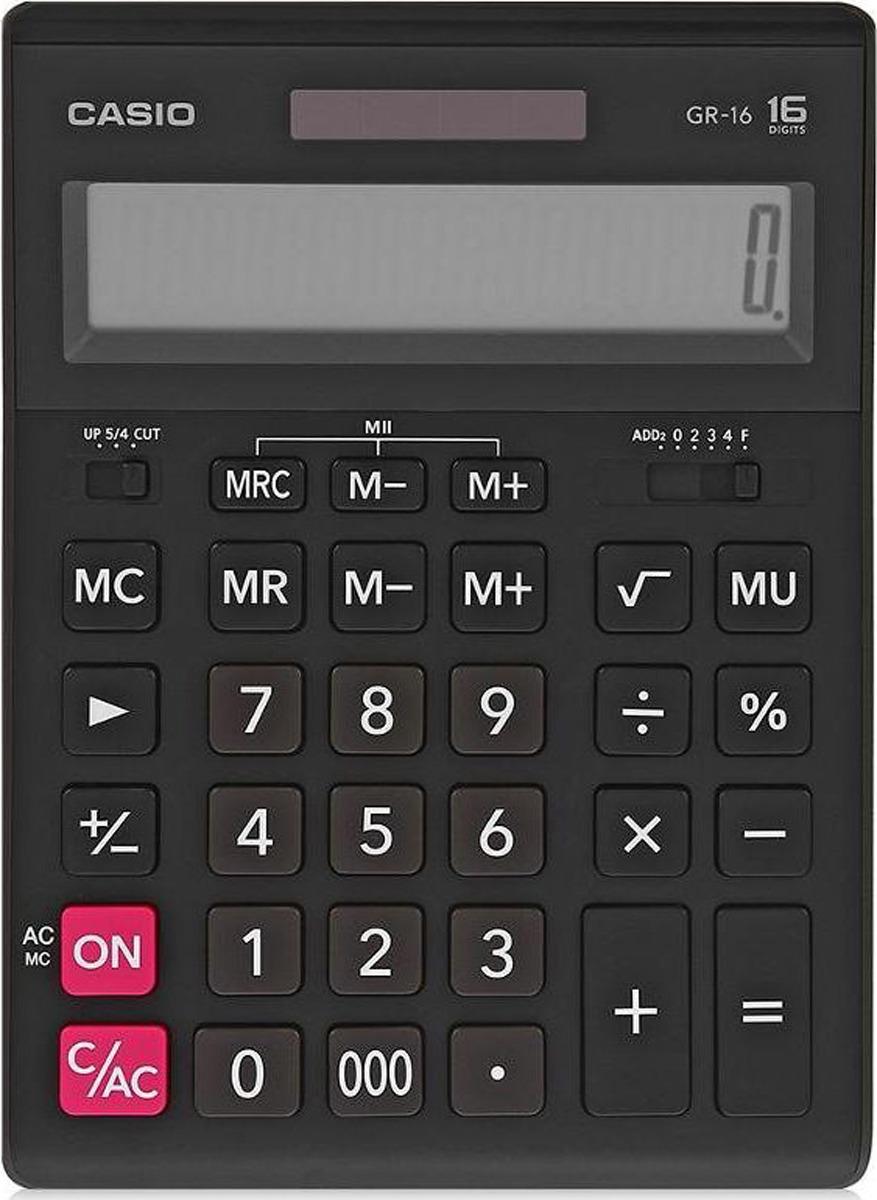 Калькулятор настольный Casio, черный, GR-16-W-EH калькулятор настольный casio gr 12c lb голубой 12 разр