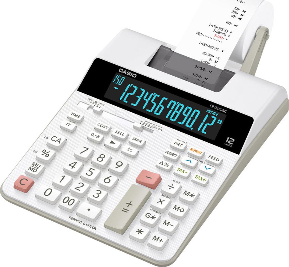 Калькулятор с печатью Casio, серый, белый, FR-2650RC-W-EC цены онлайн