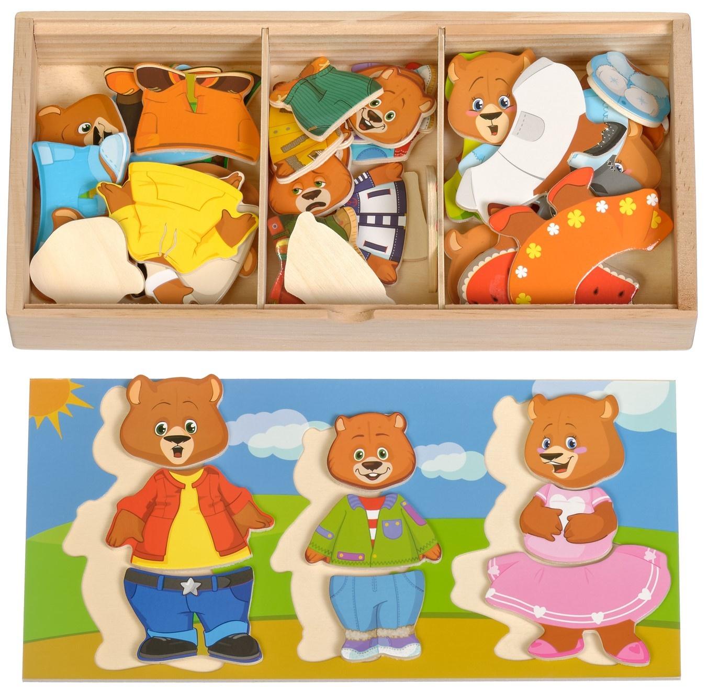 Развивающая игрушка Мир деревянных игрушек Пазл Три медведя бежевый