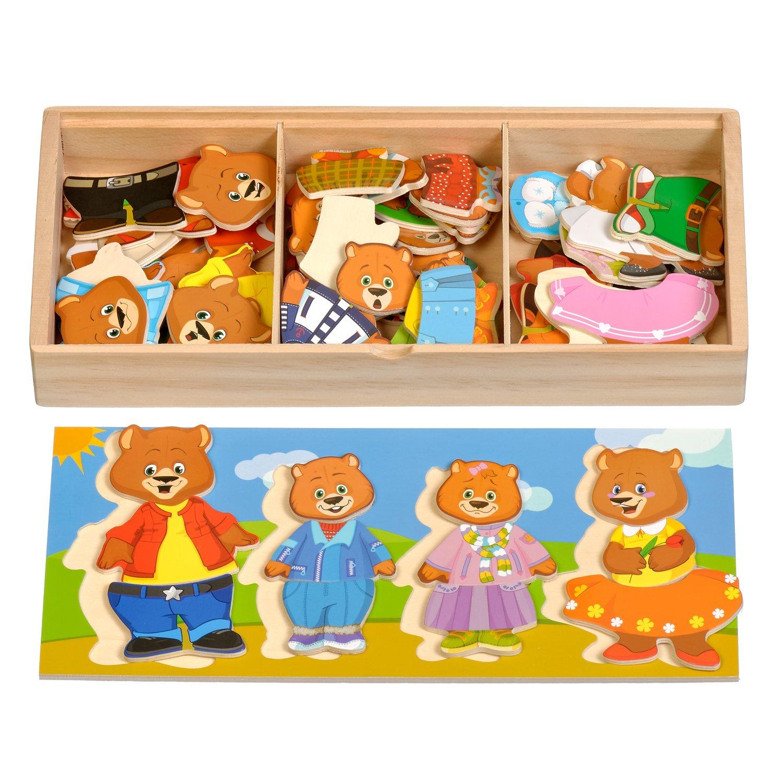Развивающая игрушка Мир деревянных игрушек Пазл Четыре медведя бежевый