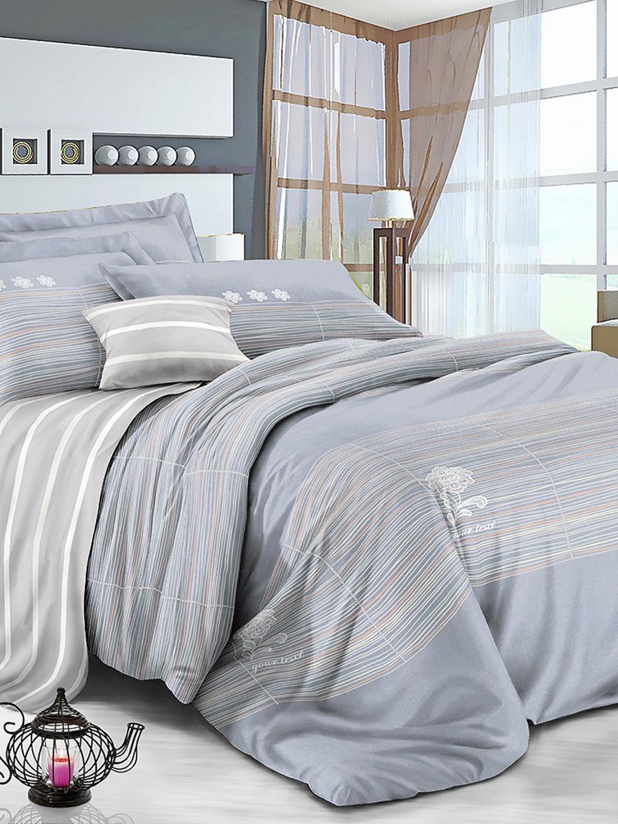Комплект постельного белья ИМАТЕКС IM0383-сем-70х70, серый, белый комплект белья олеся фиалки семейное наволочки 70х70 цвет мульти 2050115643