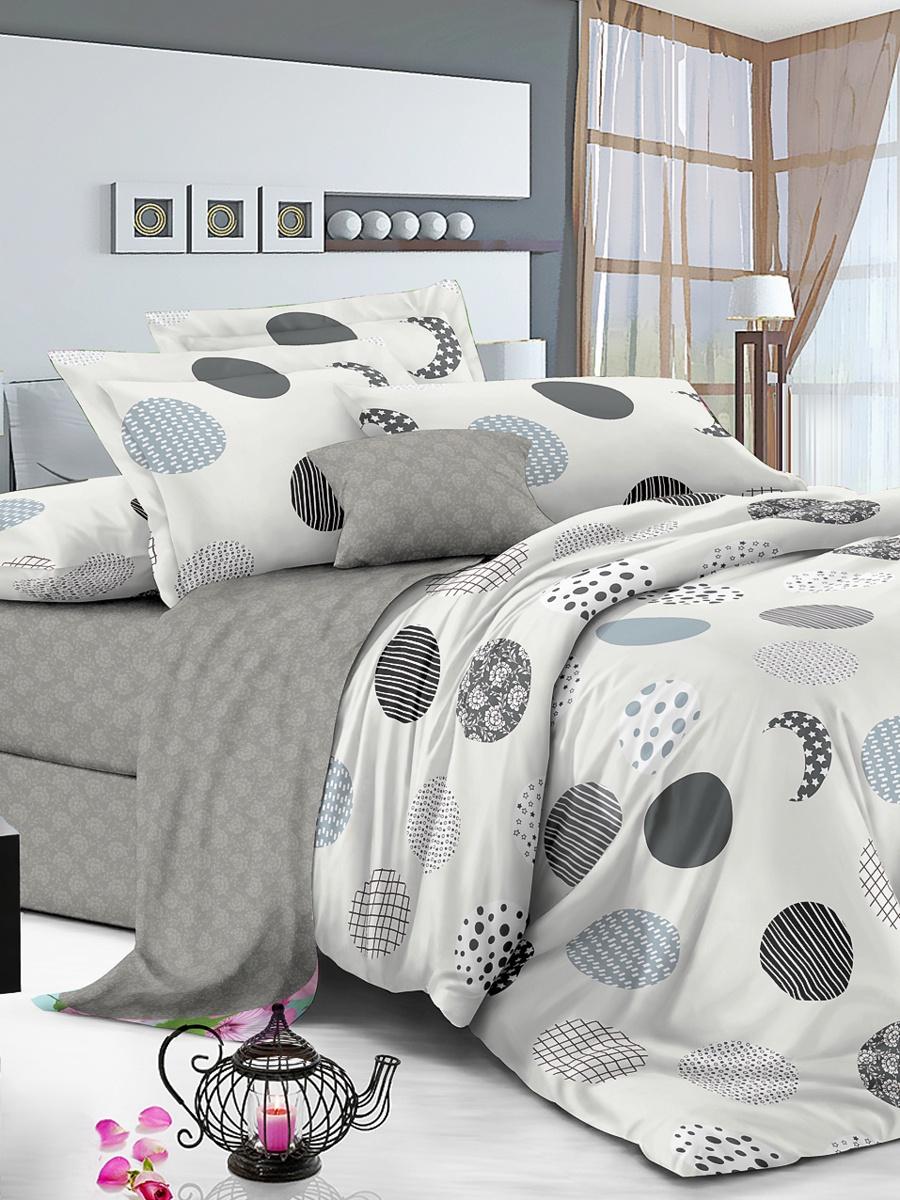 Комплект постельного белья ИМАТЕКС IM0388-сем-70х70, светло-серый, черный, серый комплект белья олеся фиалки семейное наволочки 70х70 цвет мульти 2050115643