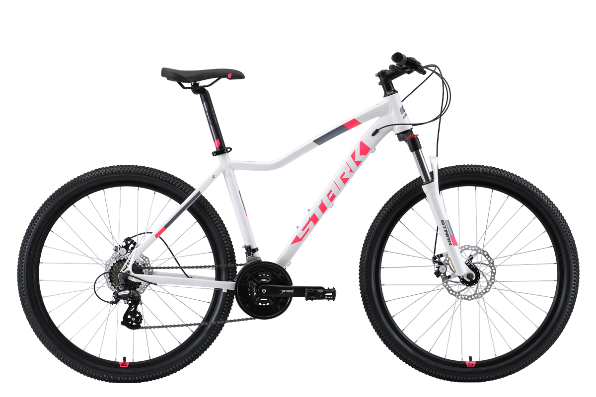 Женский велосипед STARK Viva 27.3 D 2019, белый, розовый, черный велосипед stark router 27 3 d 2019