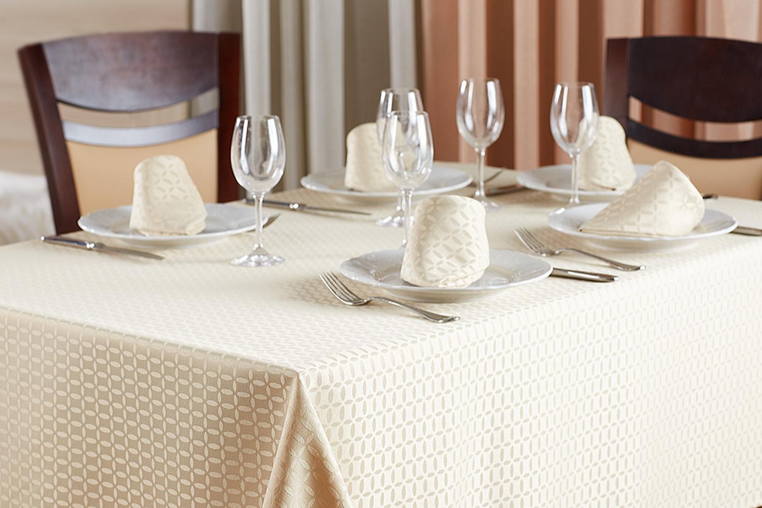 Набор столового белья Primavelle 4690400068852, светло-бежевый скатерти и салфетки мток скатерть 6 салфеток гжель букет набор