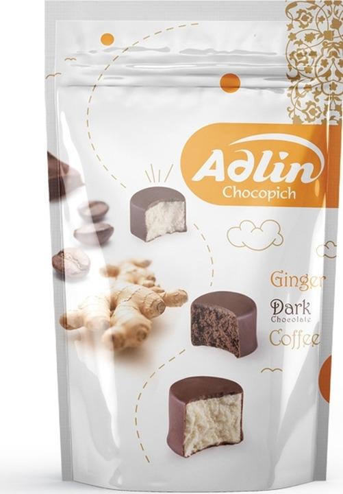 Конфеты из пашмалы Adlin ассорти со вкусом имбиря, какао 60% и кофе в шоколадной глазури, 350 г