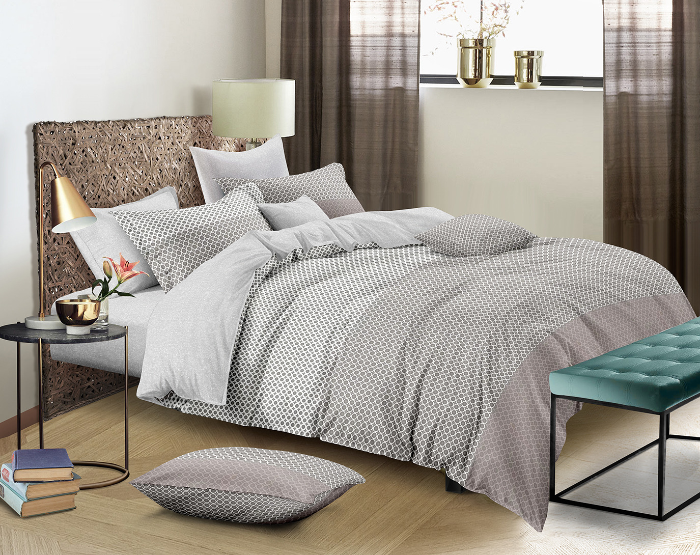 Комплект постельного белья Amore Mio Gold Calvin, 7832, бежевый, 1,5-спальный, наволочки 70x70