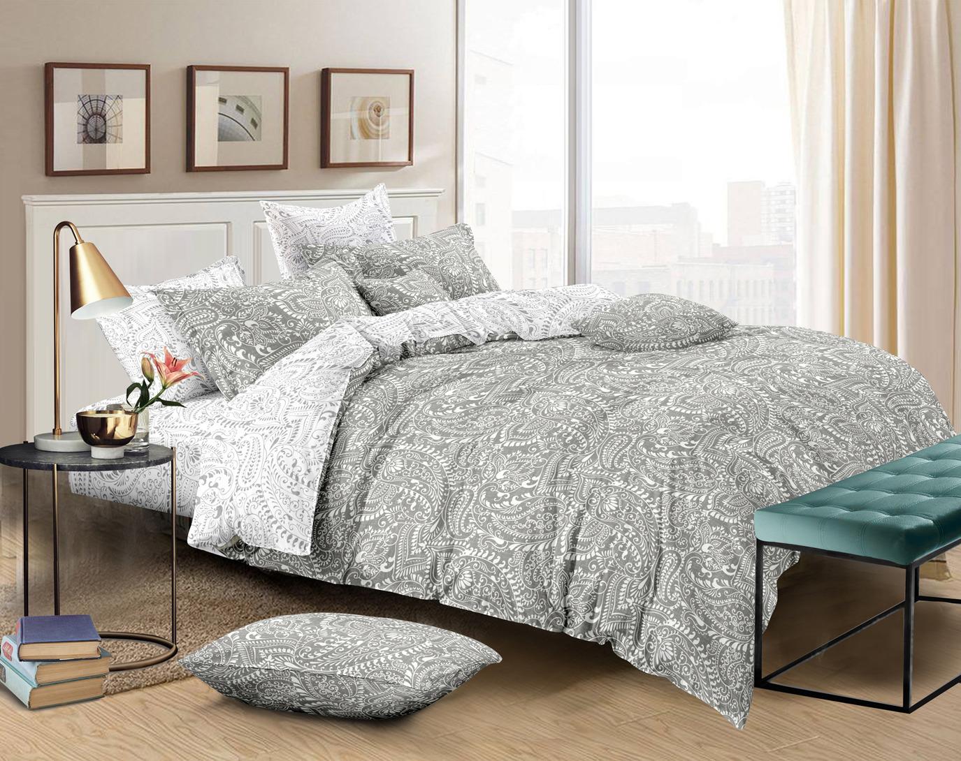 Комплект постельного белья Amore Mio Gold Amber, 7833, бежевый, 1,5-спальный, наволочки 70x70