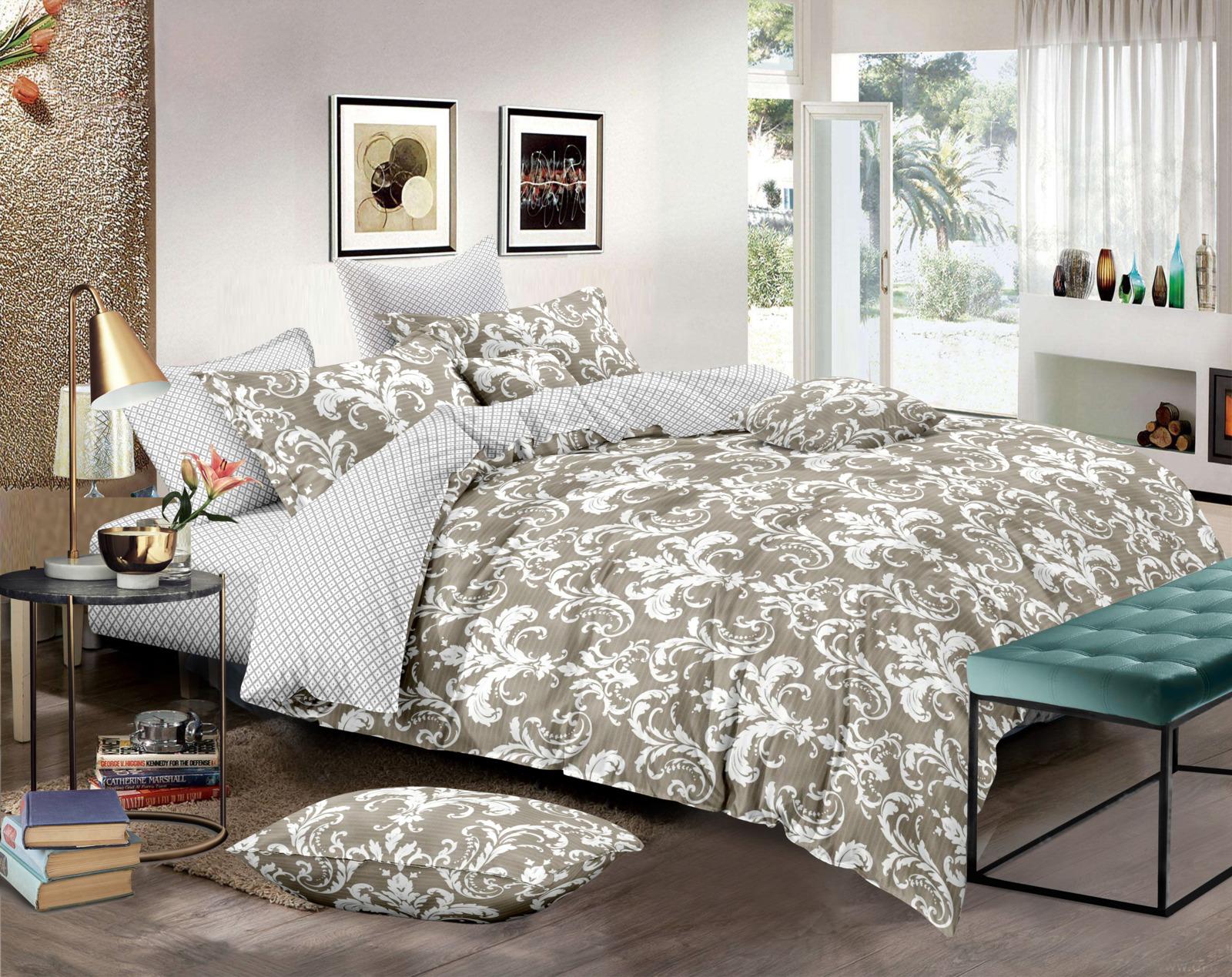 Комплект постельного белья Amore Mio Gold Bonnie, 7834, бежевый, 1,5-спальный, наволочки 70x70