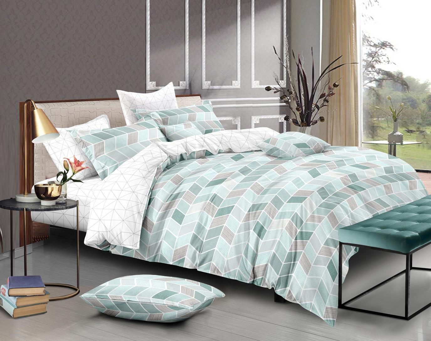 Комплект постельного белья Amore Mio Gold Valery, 7843, зеленый, 2-спальный, наволочки 70x70