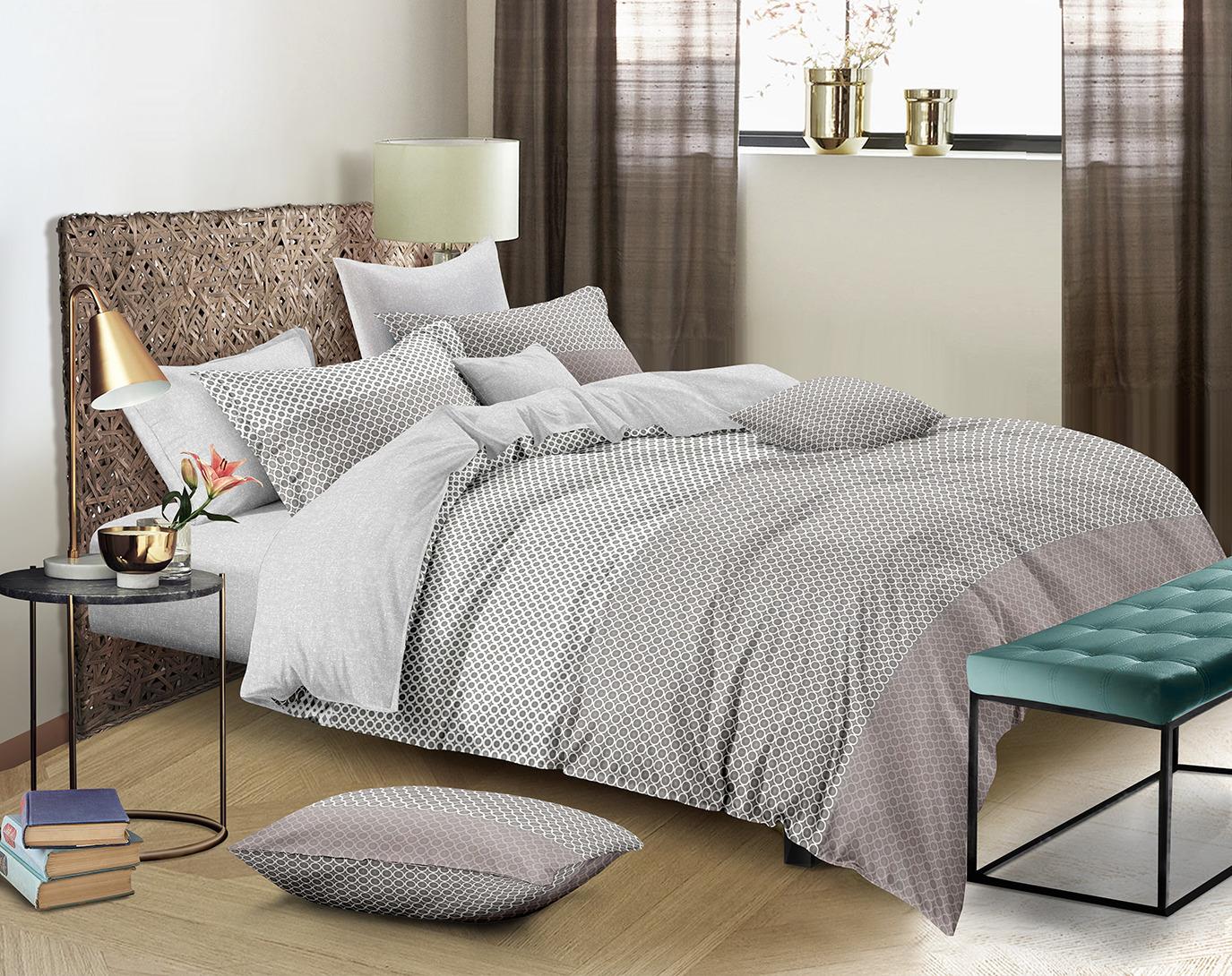 Комплект постельного белья Amore Mio Gold Calvin, 7844, бежевый, 2-спальный, наволочки 70x70