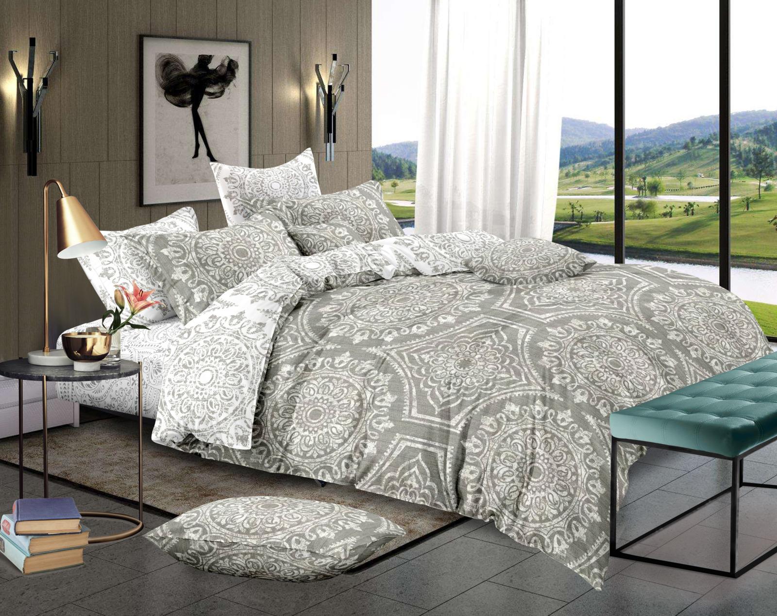 Комплект постельного белья Amore Mio Gold Edward, 7847, бежевый, 2-спальный, наволочки 70x70