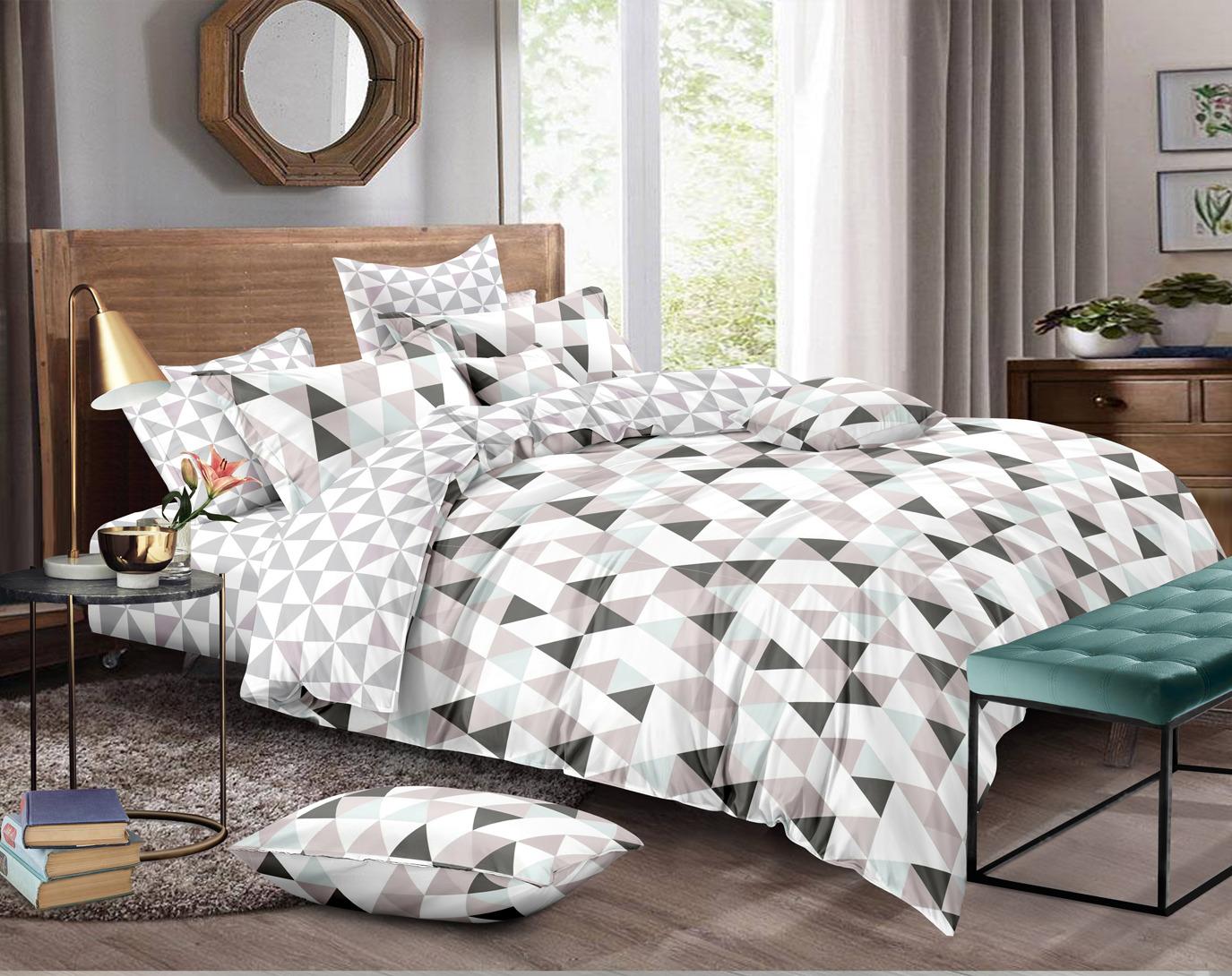 цена Комплект постельного белья Amore Mio Gold Miles, 7851, серый, евро, наволочки 50x70, 70x70 онлайн в 2017 году