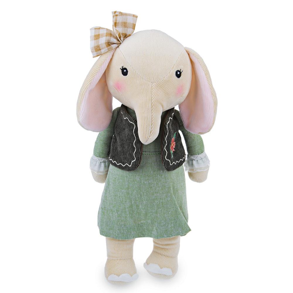 Мягкая игрушка Слон в зеленом платье и жилетке бежевый