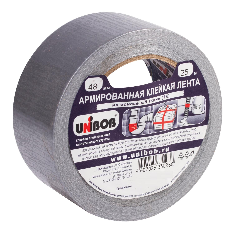 Клейкая лента UNIBOB армированная, 48 мм х 25 м, основа - х/б ткань, прочная лента армированная fit универсальная цвет синий 48 мм х 10 м