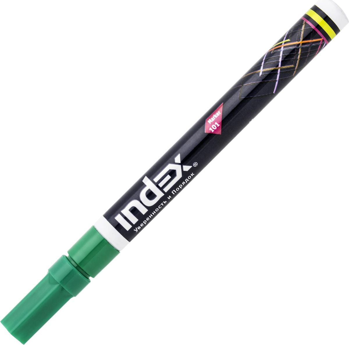 цена Маркер Index лаковый, IPM101/GN, цвет чернил зеленый