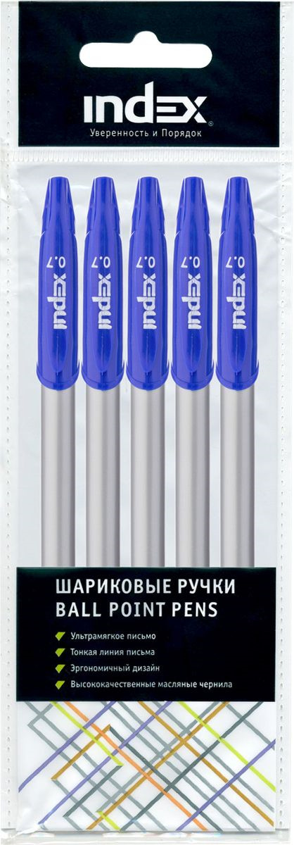 Набор шариковых ручек Index, IBP4110/S5, цвет чернил синий, 5 шт