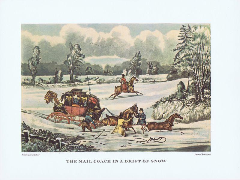 Гравюра Джеймс Поллард Почтовый дилижанс в снежном сугробе. Офсетная литография. Англия, Лондон, 1965 год все цены