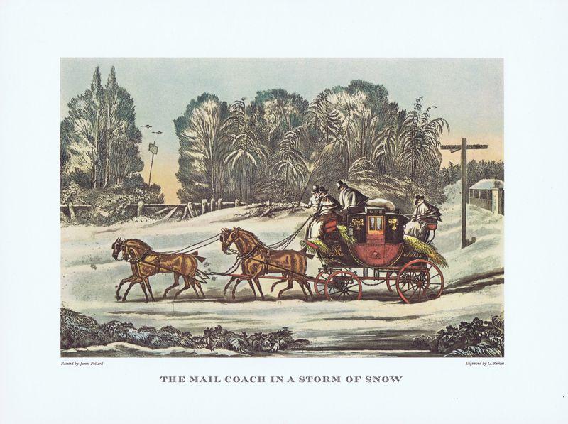 Гравюра Джеймс Поллард Почтовый дилижанс в снежной буре. Офсетная литография. Англия, Лондон, 1965 год