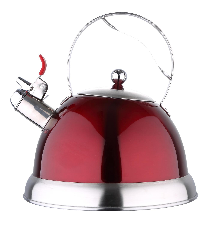 Чайник Bergner 3 л со свистком, 3796BG, красный, серый металлик чайник carl schmidt sohn aquatic со свистком цвет серый металлик 5 л