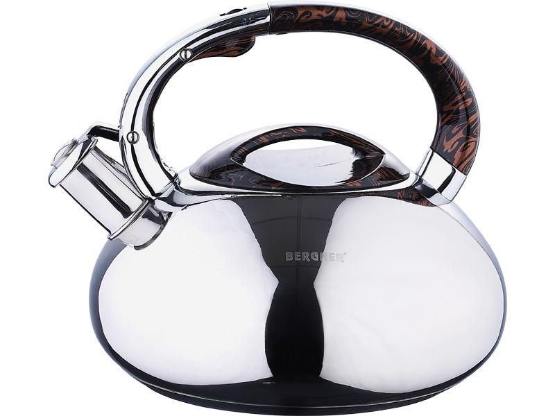 Чайник Wellberg 3 л со свистком, 5861WB, серебристый, серый металлик чайник carl schmidt sohn aquatic со свистком цвет серый металлик 5 л