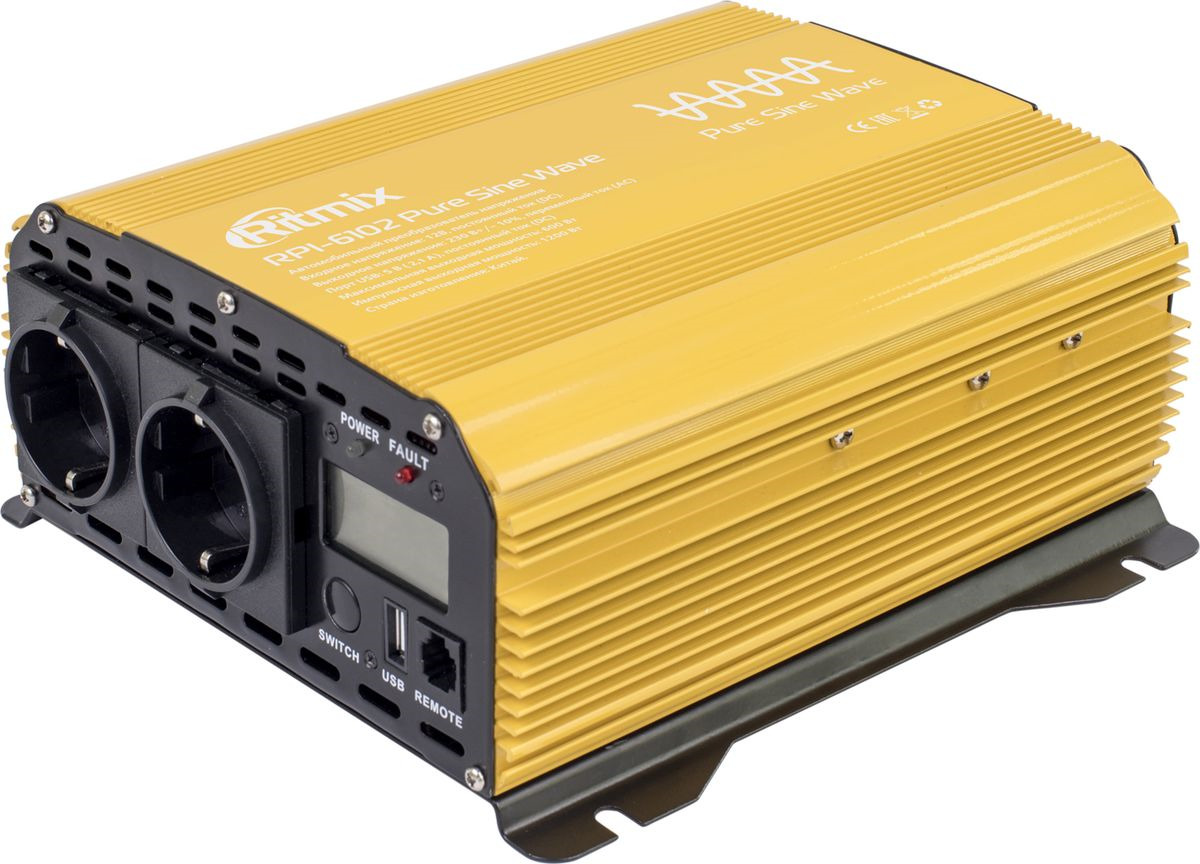 цена на Автоинвертор Ritmix RPI-6102 Pure Sine, 15119886, золотой