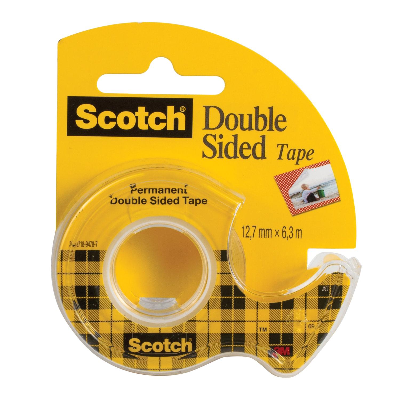 Скотч SCOTCH Клейкая лента двусторонняя 12,7 мм х 6,3 м, канцелярская, на диспенсере лента клейкая двусторонняя scotch 12 мм х 10 м