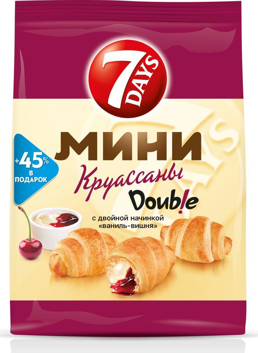 7DAYS Double! Мини-круассаны с двойной начинкой Ваниль-Вишня, 105 г