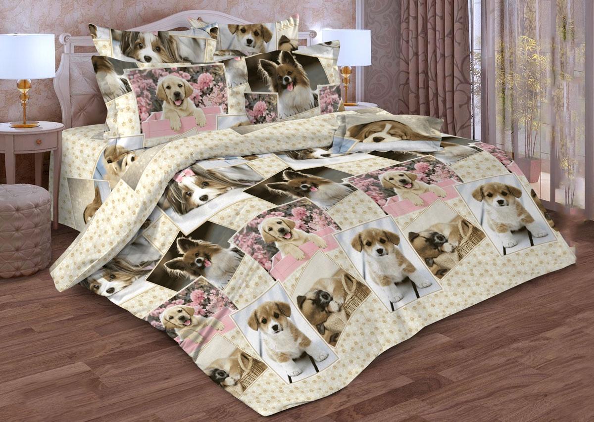 Комплект постельного белья ИМАТЕКС 17063-сем-70х70, розовый, бежевый комплект белья олеся фиалки семейное наволочки 70х70 цвет мульти 2050115643