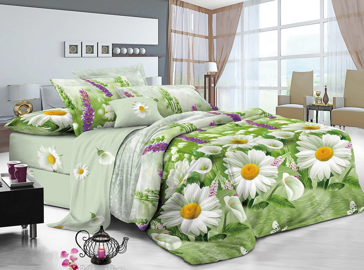 цена Комплект постельного белья ИМАТЕКС IM0024-2е-70х70, светло-зеленый, желтый, розовый онлайн в 2017 году