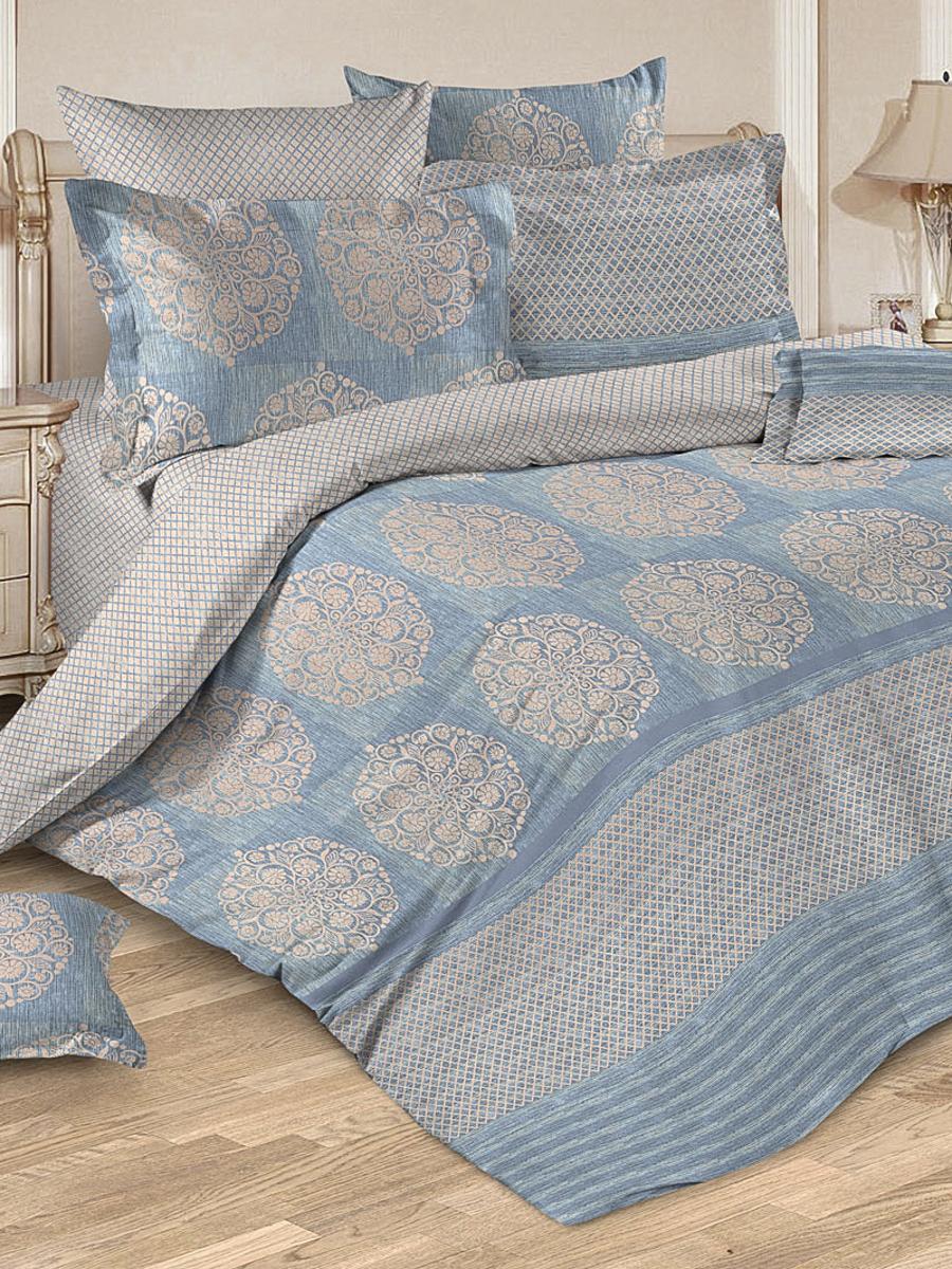 Комплект постельного белья ИМАТЕКС Велюр-бязь-сем-70х70, светло-бежевый, голубой комплект белья олеся фиалки семейное наволочки 70х70 цвет мульти 2050115643