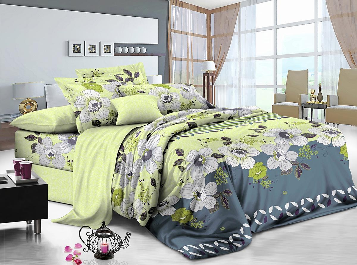 Комплект постельного белья ИМАТЕКС IM0318-сем-70х70, салатовый, серый комплект белья олеся фиалки семейное наволочки 70х70 цвет мульти 2050115643