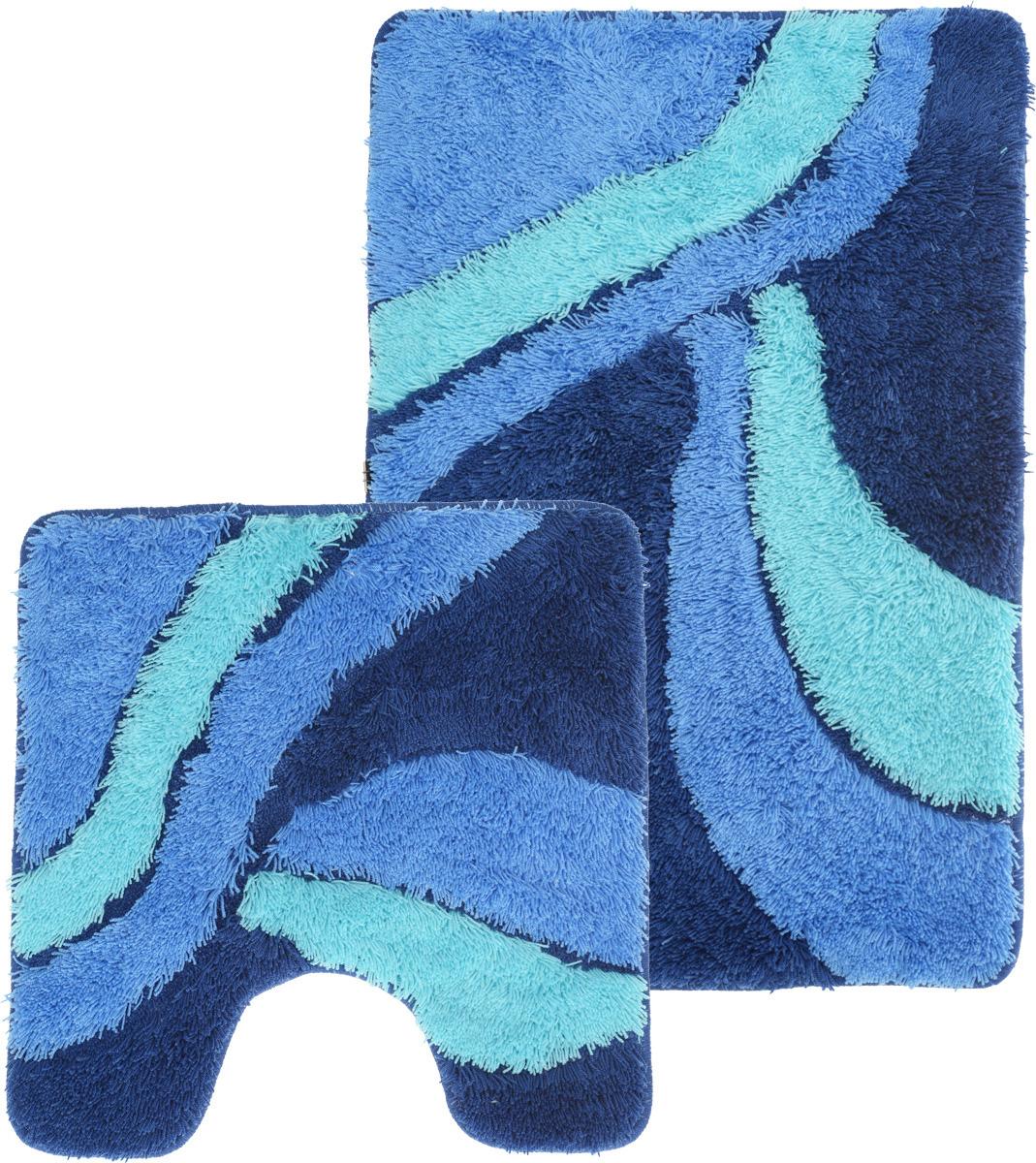 Набор ковриков для ванной Iddis Attika, цвет: синий, 50 х 80 см, 50 х 50 см, 2 шт набор ковриков для ванной iddis beige landscape цвет бежевый 60 х 90 см 50 х 50 см 2 шт