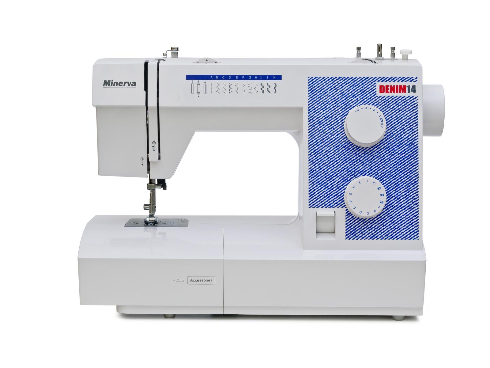 Швейная машина Minerva M-DEN14, белый, синийM-DEN14Тип: ЭлектромеханическаяКоличество операций: 14. Тип тканей: Разные типы тканейПетля: ПолуавтоматЧелнок: ВертикальныйДлинна стежка: 4,5 - 5 ммШирина стежка: 5 ммСкорость шитья: 650 об/мин Строчки:- рабочие строчки- трикотажные строчки- потайной шов- отделочные строчкиДополнительные функции: -Автоматическая намотка шпульки-Металлическая станина-Возможность шитья двойной иглой-Удобный диск выбора строчек-Регулятор натяжения верхней нити -Светодиодная подсветка-Рычаг обратного хода (Реверс)-Замена прижимной лапки за одно нажатие-Сантиметровая линейка на корпусе машины-Обрезчик нити-Ручка для переноса машины-Свободный рукав (для обработки низа рукавов, брюк)-Отсек для хранения аксессуаровКомплектация: -Универсальная лапка-Лапка для вшивания молнии-Лапка для петли-Лапка для потайной строчки-Мощность: 85 ВтСтрана производства: Китай