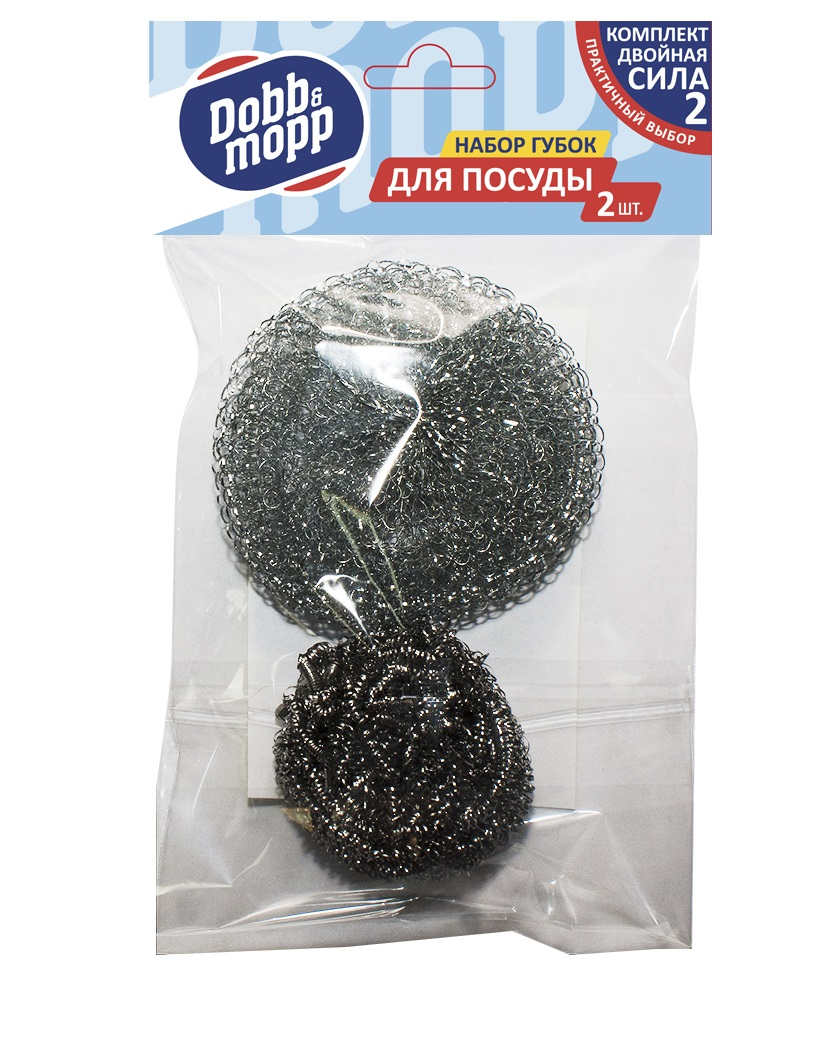 Губка металлическая Dobb&Mopp 2 шт, серый тряпка dobb