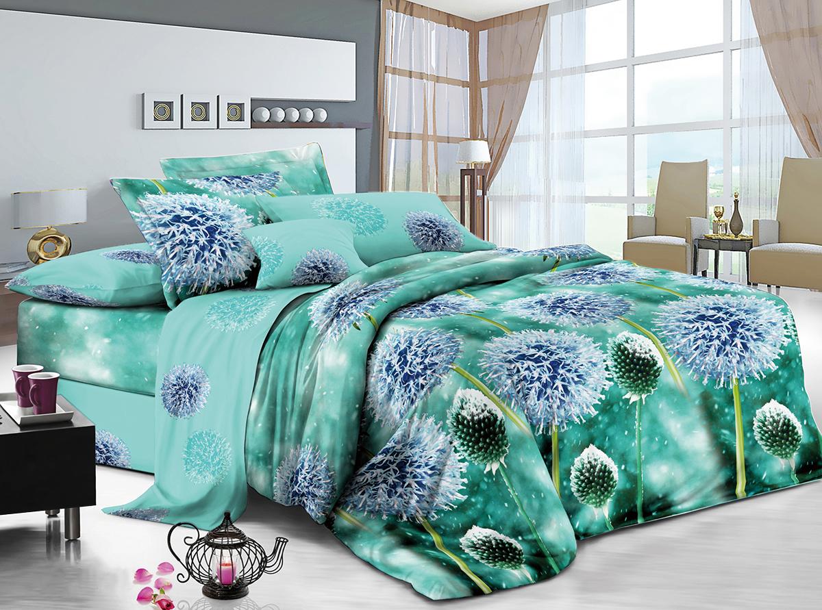 Комплект постельного белья ИМАТЕКС IM0386-2е-70х70, бирюзовый, синий, салатовыйИМ-IM0386-2е-70х70Постельное белье 2 спальное ЕВРО 100 процентов хлопок, тип плетения нитей перкаль.