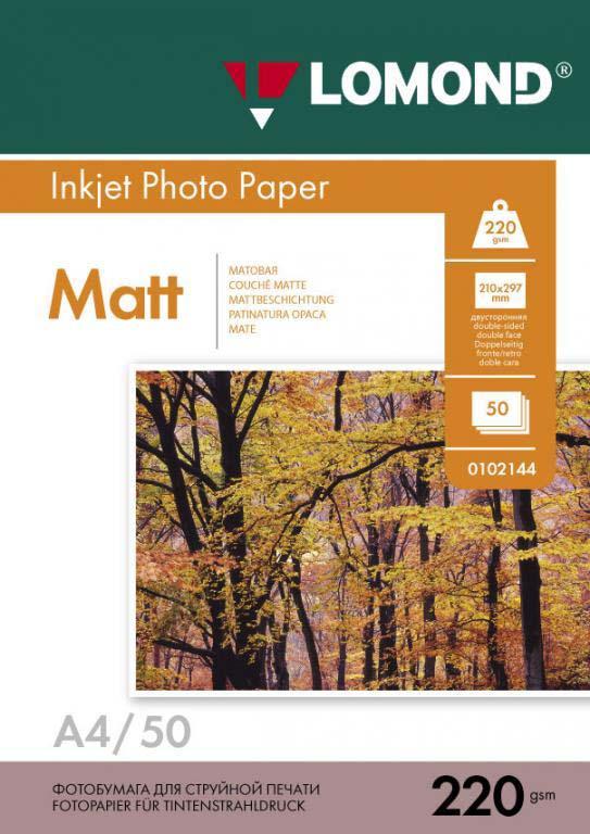 Фотобумага Lomond 0102144, для струйной печати, матовая, белый, A4, 50 листов