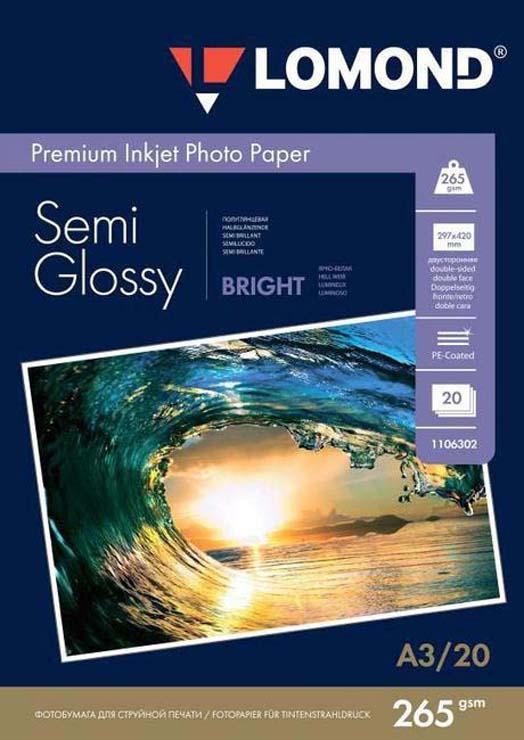 Фотобумага Lomond 1106302, для струйной печати, полуглянцевая, белый, A3, 20 листов
