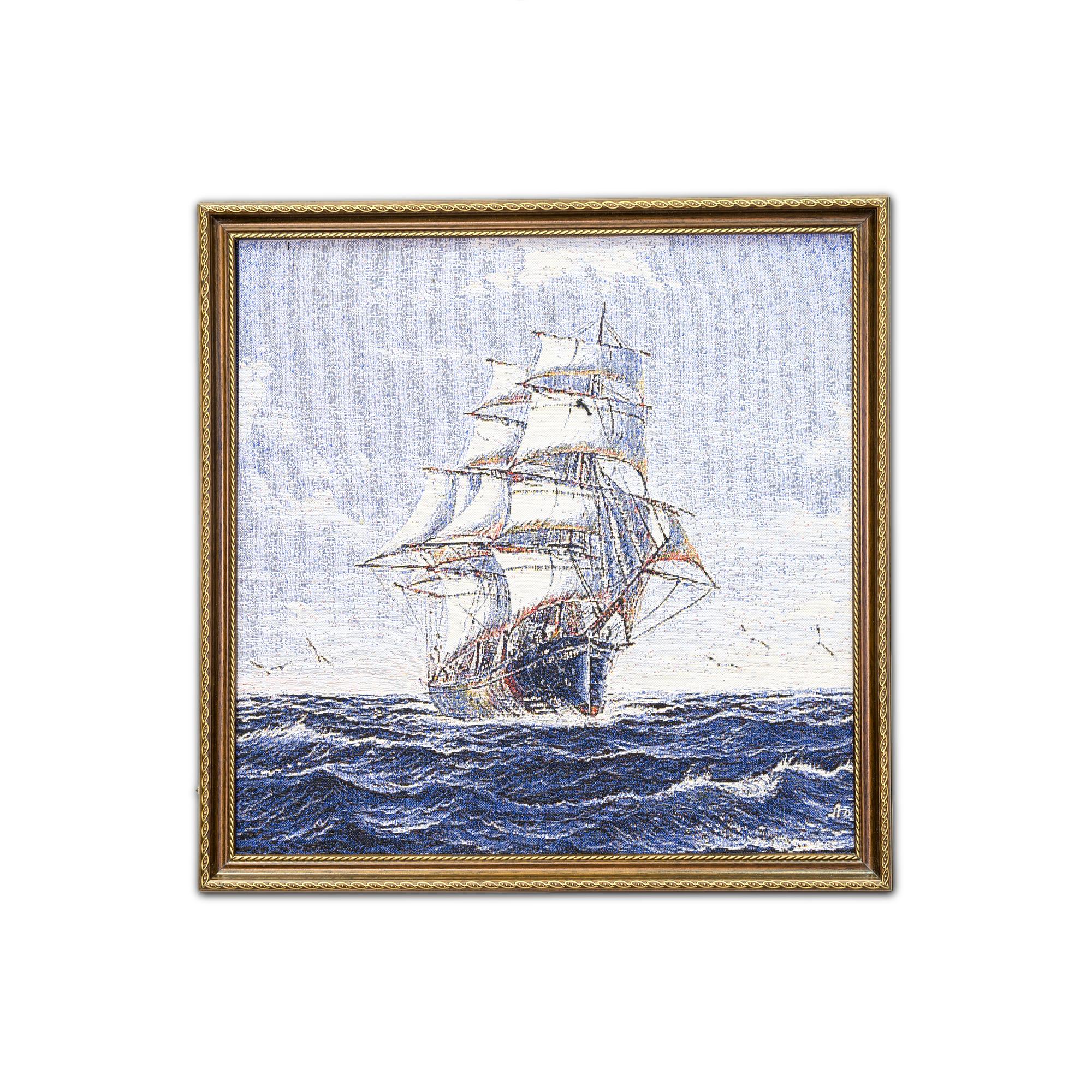 Картина Магазин гобеленов Парусник 48*48 см, Гобелен827Гобелен картина парусник-для интерьера и дизайна вашего дома.А так же шикарный подарок для мужчины. Гобелен оформлен в багет.Размер 48*48 см.