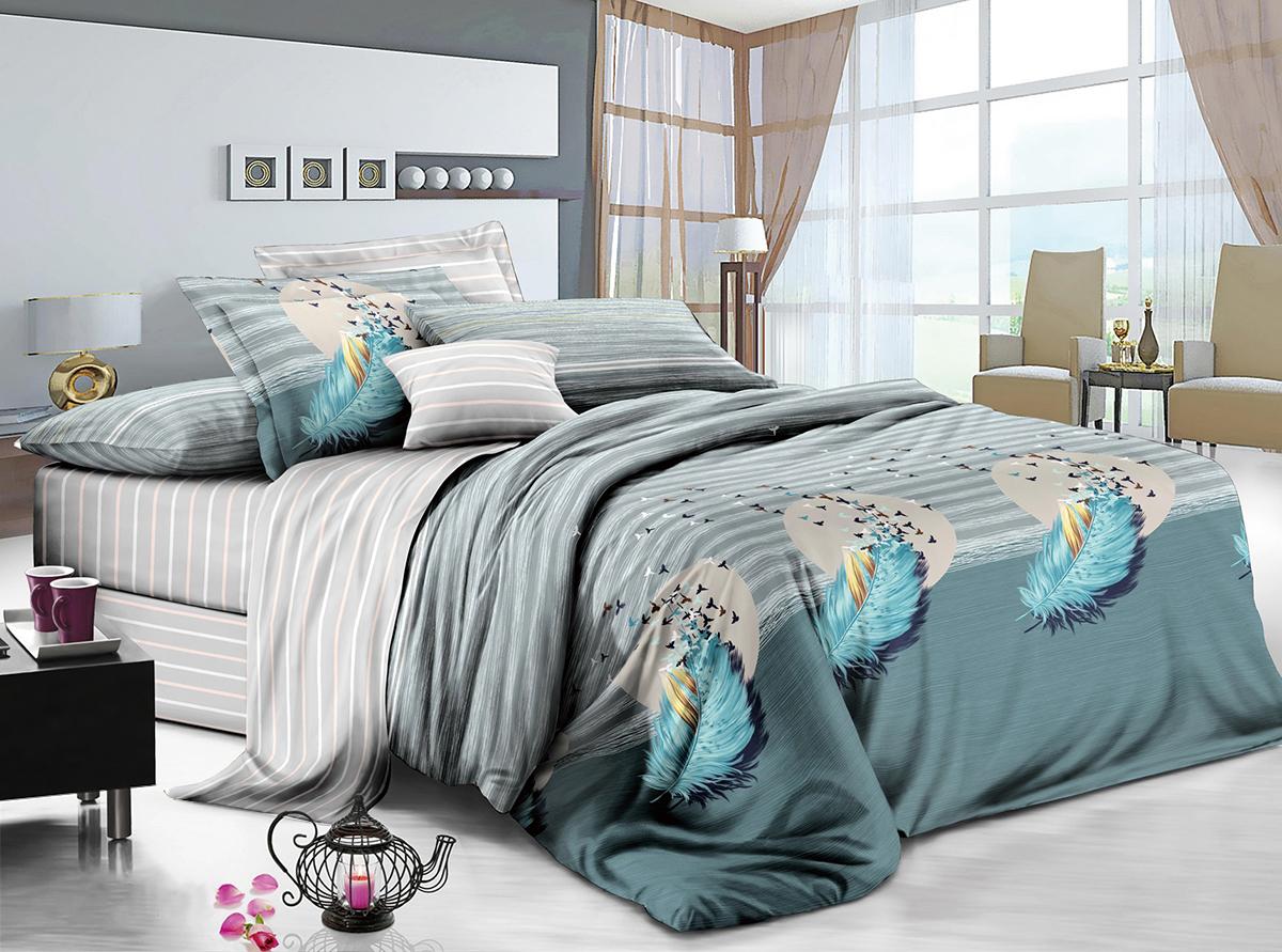 Комплект постельного белья ИМАТЕКС IM0395-2-70х70, лазурный, светло-серый постельное белье cotton life love you 70х70 см 1 5 спальное