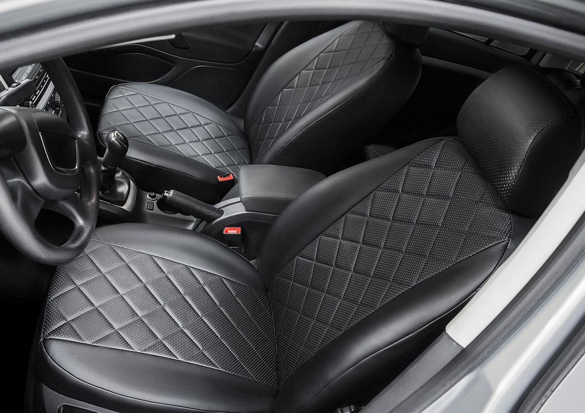 Авточехлы Rival Ромб (спинка цельная) для сидений Volkswagen Polo V седан 2009-2015 2015-н.в., эко-кожа, черные. SC.5803.2 авточехлы зимние kt polo