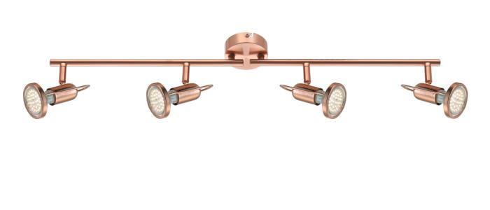 Настенно-потолочный светильник Globo New 54383-4, медь спот модерн 6 5256 4 cr wh g9 led