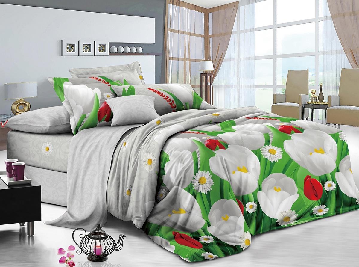 цена Комплект постельного белья ИМАТЕКС IM0399-2е-70х70, светло-серый, зеленый, желтый онлайн в 2017 году