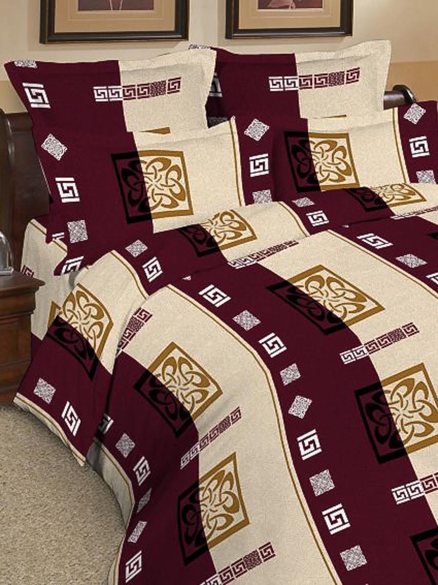 цены Комплект постельного белья ИМАТЕКС 9750-сем-70х70, бордовый, светло-бежевый