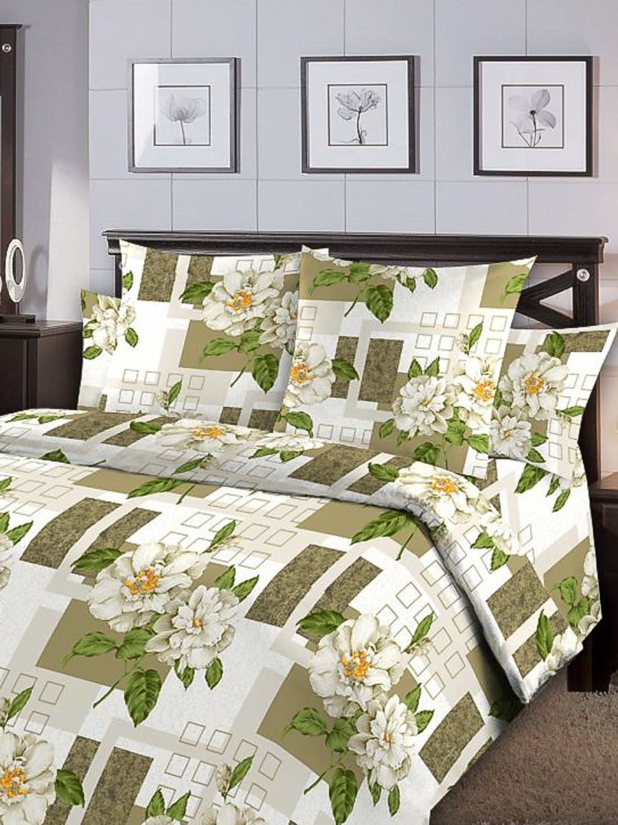 цена Комплект постельного белья ИМАТЕКС 9751-сем-70х70, зеленый, светло-серый онлайн в 2017 году