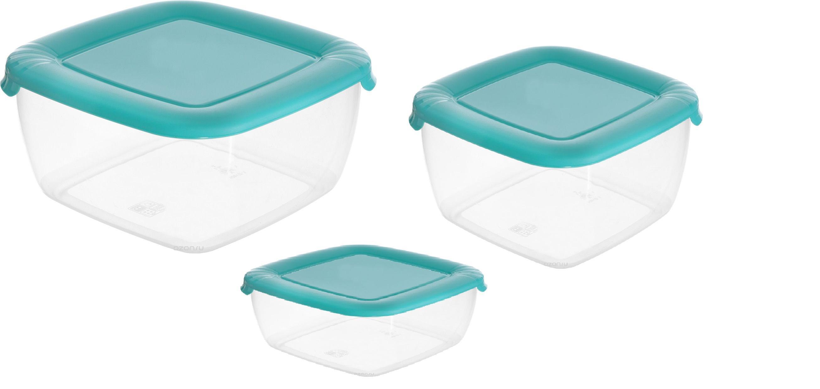 """Контейнер пищевой Полимербыт комплект (3шт)""""ЛАЙТ""""КВАДР.(0,46л 0,95л 1,5л) СВЧ синий, прозрачный, голубой"""