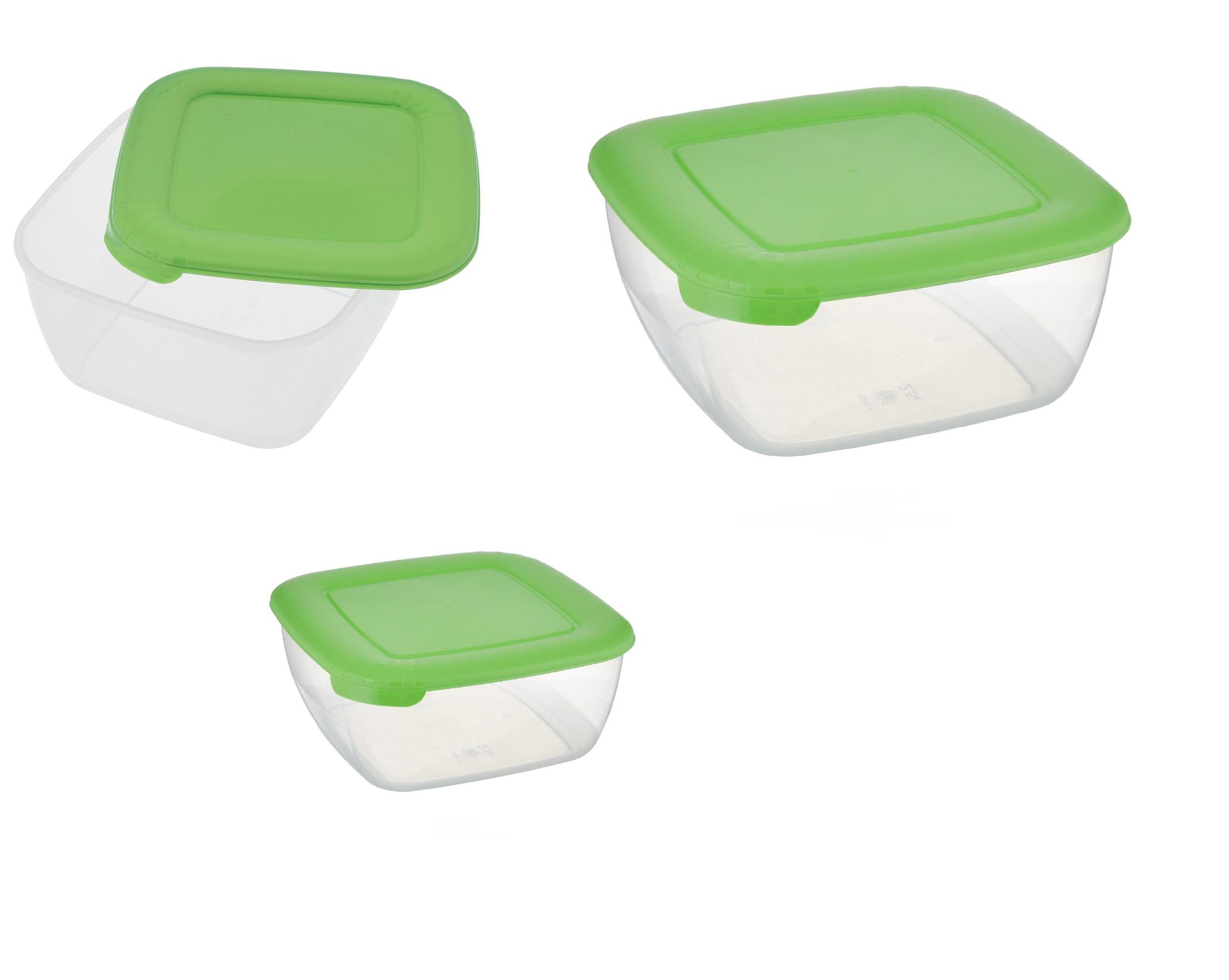 """Контейнер пищевой Полимербыт комплект (3шт)""""ЛАЙТ""""КВАДР.(0,46л 0,95л 1,5л) СВЧ зеленый, прозрачный, зеленый"""