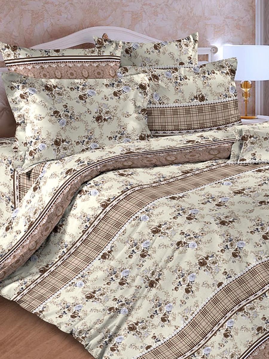 Комплект постельного белья ИМАТЕКС 17008-сем-70х70, светло-коричневый, светло-бежевый комплект белья олеся фиалки семейное наволочки 70х70 цвет мульти 2050115643
