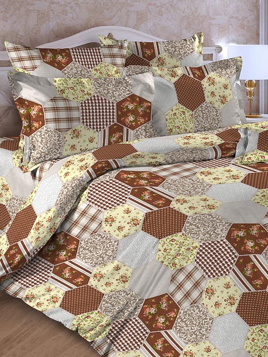 Комплект постельного белья ИМАТЕКС 17018-сем-70х70, коричневый, серый, коралловый комплект белья олеся фиалки семейное наволочки 70х70 цвет мульти 2050115643