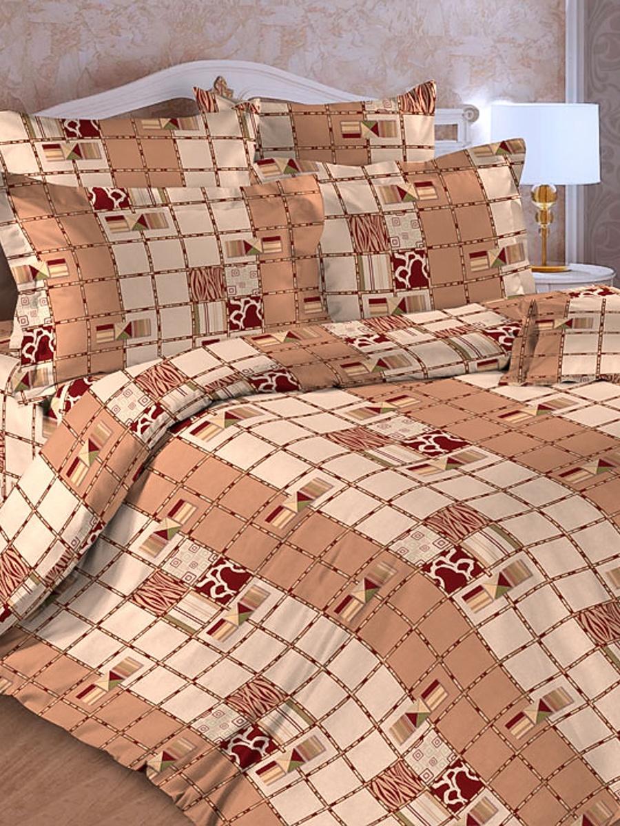 Комплект постельного белья ИМАТЕКС 17026-2-сем, светло-коричневый, светло-бежевый комплект белья олеся фиалки семейное наволочки 70х70 цвет мульти 2050115643